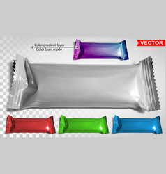 Color blank polyethylene package for snack product vector