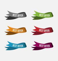 colorful best offer ribbon sale label and tag vector image