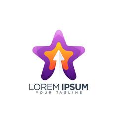 colorful star upload arrow logo design template vector image