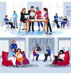 Coworking People Flat Compositions vector