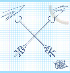 crossed cupid arrow heart valentines day cards vector image