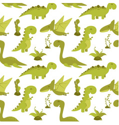 Cute seamless pattern with cartoon dinosaurs vector