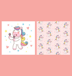 cute unicorn horse playing maracas and pattern vector image