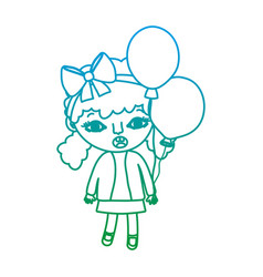 Degraded line girl child with two tails and vector