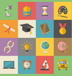 educationknowledge icon set in flat style vector image