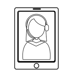 electronic device with avatar woman on the screen vector image
