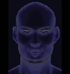 Face halftone glowing vector