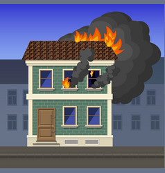 fire in an apartment building vector image