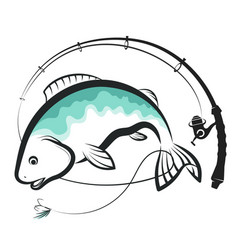 Fish and spinning design vector