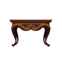 Flat icon of antique wooden table for vector