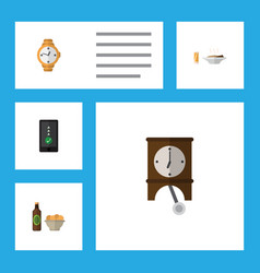 flat icon oneday set of beer with chips clock vector image