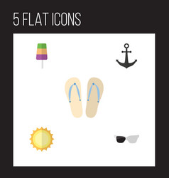 flat icon summer set of sundae beach sandals vector image