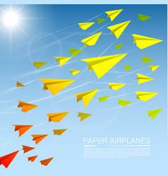 flying paper airplanes vector image