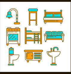 furniture of bright colors and minimalistic design vector image