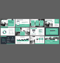 green presentation templates for slide vector image
