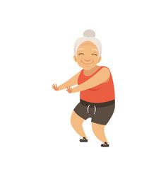 Grey senior woman in sports uniform doing squats vector