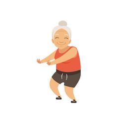 grey senior woman in sports uniform doing squats vector image