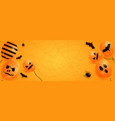 halloween background with scary balloons vector image