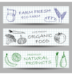 Hand drawn farm banners vector image