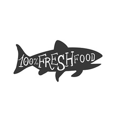 Hand Drawn Fish Fresh Food Lettering vector image