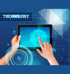 hands tablet realistic vector image