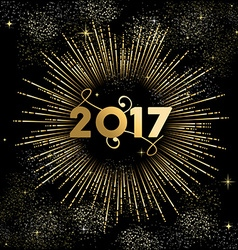 Happy New year 2017 firework burst in gold vector image