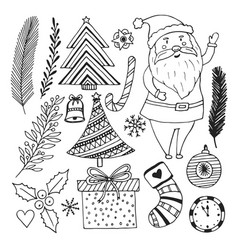 happy new year sketch doodle set christmas vector image