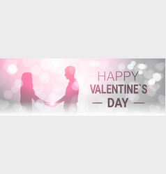 happy valentine day horizontal banner decoration vector image