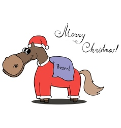 Horse carries gifts for Christmas vector