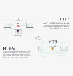 Http vs https thin line design vector