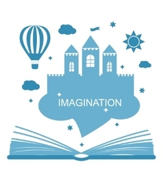 Imagination concept - open book vector image
