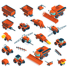 Isometric agricultural farm equipment set vector