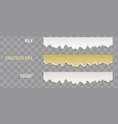 Liquid condensed milk yogurt and condensed milk vector