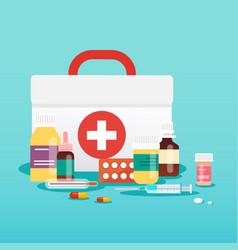 Medical concept pills and bottles flat design vector