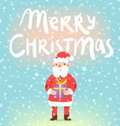 Merry Christmas cute Santa with a present vector image