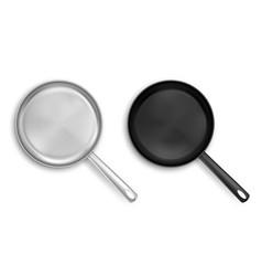 metal and black nonstick frying pans top view vector image