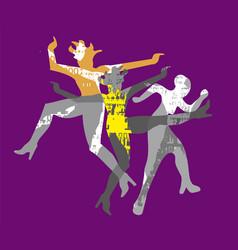 modern dance group wild disco party vector image