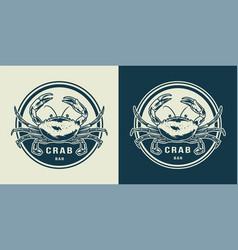 monochrome crab round print vector image