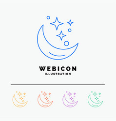 moon night star weather space 5 color line web vector image