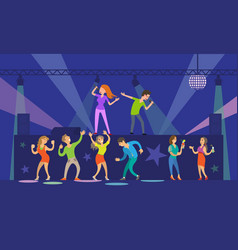 music singers performing in night club nightlife vector image
