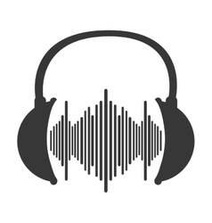 music soundwave in headphones icon vector image