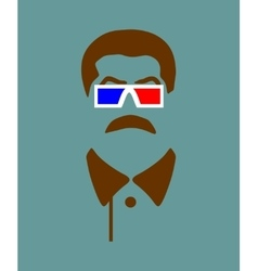 Mustache and steroe glasses vector