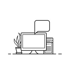 Office computer icon vector