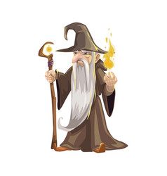 Old wizard with scepter and flame icon vector