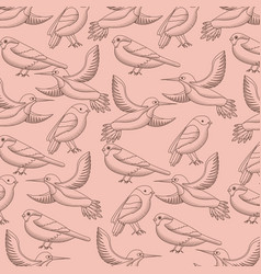 pattern decoration flying birds natural vector image