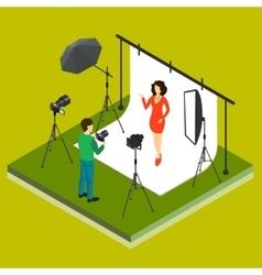 Photographer Shooting Model in Studio vector image
