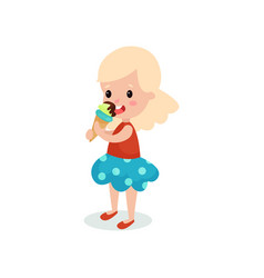 Pretty blonde girl licking ice cream cartoon vector