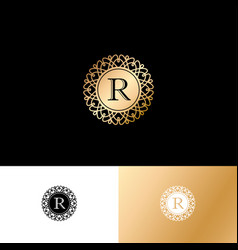 R gold letter monogram gold circle lace ornament vector