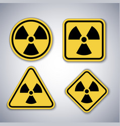 radiation warning symbols set nuclear alert signs vector image