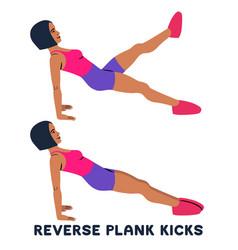 Reverse plank kicks reverse plank sport exersice vector